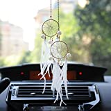Boseen Dream Catchers Car Interior Rearview Pendant, Feather Adjustable Chain Double Dreamcatcher Car Charm Handmade Metal Chain Dream Catcher Pendant with Pearls for Hanging Decoration (White)