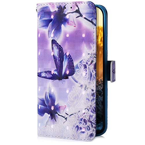Uposao Funda compatible con Huawei P8 Lite 2017 con purpurina retro a prueba de golpes, funda de piel tipo cartera con función atril y ranuras para tarjetas, diseño de flores y mariposas.
