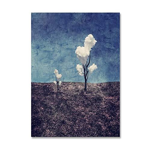 LKJHGU Plantas de Paisaje Abstracto Decoración Violeta Impresiones en Lienzo Pinturas Carteles Pop Impresiones Imágenes de Pared para Sala de Estar Decoración del hogar 40 * 50cm
