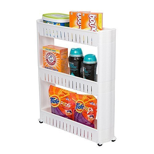 Stella New Multipurpose Shelf with Removable Wheels crack rack Bathroom Storage Storage Rack Shelf Multi-layer refrigerator Slide out side shelf (3 Layers)