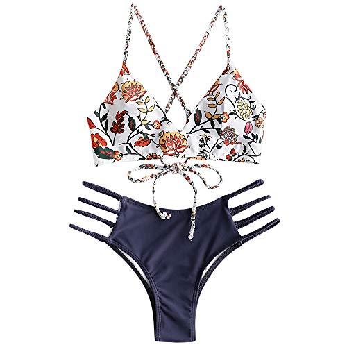 ZAFUL zweiteilig Bikini-Set mit Flechtgurt verstellbarem BH Push-Up Rücken, Triangle Bustle Badehose mit Blummenmuster (Dunkelblau, S (EU 36))