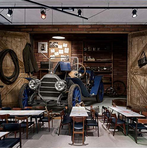 3D vliesbehang personaliseerbaar schilderij fotobehang 3D auto retro nostalgische stijl restaurant cafe milk tea winkel achtergrond wanddecoratie kunst wandschilderij wandschilderij wandschilderij 300 x 210 cm.