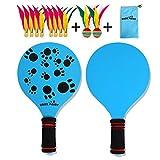 Luerme Portable Plage Paddle Set De Haute Qualité En Bois Raquette De Plage Ball Badminton Raquette De Raquette Pelouse Jeu En Plein Air Jeu De Raquette pour Adultes Enfants
