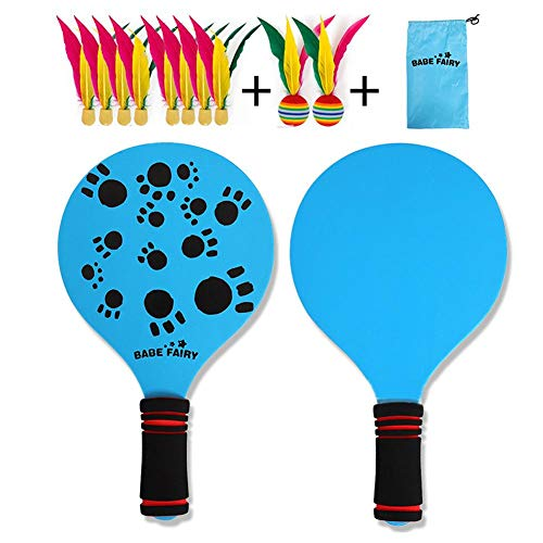 Best Deals! weemoment Game Set Beach Paddle Set Camping Gear with Wooden Racket Beachball Badminton ...