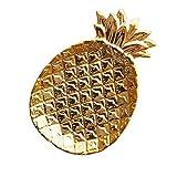 TOOGOO Pina Bandeja de Almacenamiento de Ceramica Joyas de Pina Pallet Comida Pallet Placa de Frutas Secas Placa de Decoracion del Hogar de Oro