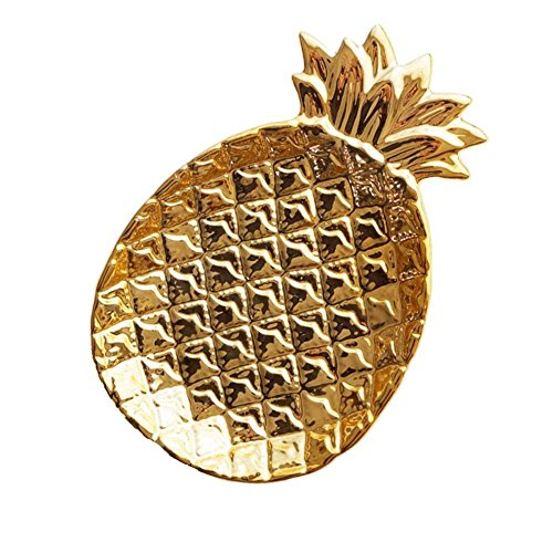 TOOGOO Ananas Keramik Ablagefach Ananas Schmuck Palette Lebensmittelpalette Trocken Obstteller Platte der Dekoration Golden
