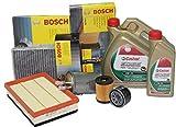 Bosch Kit de vidange d'huile Castrol 5 W 30 Longlife LT7+ 4 filtres Mercedes Classe C 200 CDI de 2000 à 2007 Type Mot. Om 611.962 KW85 CV116 / KW100 CV136 / KW105 CV 143 Type Moteur (Om 611.962)