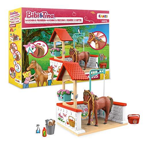 CRAZE BIBI & Tina Washing Amadeus Waschplatz Spielset Spielfiguren 20975, Pferde Spielwelt
