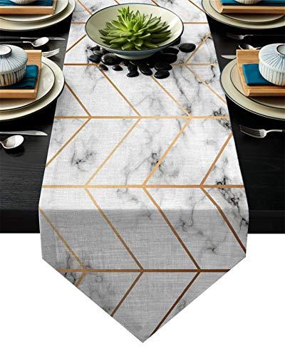 WUCHENG Golden Brillo Tendencia Marble Corredor Mesa decoración del hogar Fiesta Sala de Boda decoración Restaurante Restaurante Mesa Camino de Mesa (Color : LEX05358, Size : 46x183cm)
