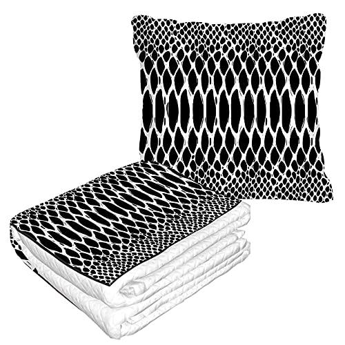 Manta de viaje en blanco y negro de piel de serpiente, en bolsa suave, funda de almohada de moda de cobra de animales geométricos de punto de círculo, cojín para casa, coche, oficina