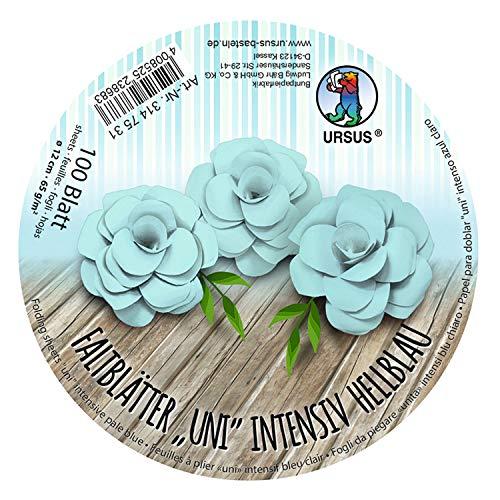 URSUS 3147531 Vouwbladen rond Uni intens lichtblauw, van gekleurd plakaat papier, 100 vellen 65 g/m2, diameter 12 cm, ideaal voor het vouwen van papieren bloemen en bloemen