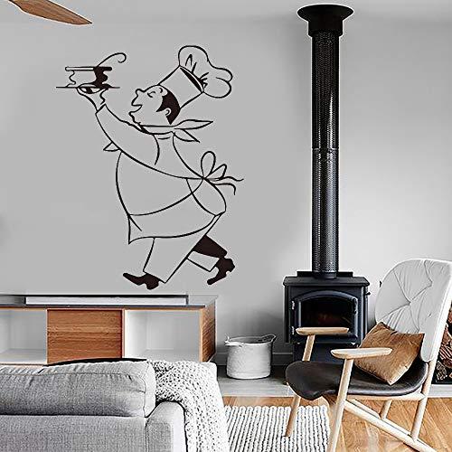 Blrpbc Pegatina de Pared Pegatinas de Cocina Chef Vinyl s Art Mural Kitchen Tile Wallpaper Decoración del hogar Decoración del hogar 55x75cm