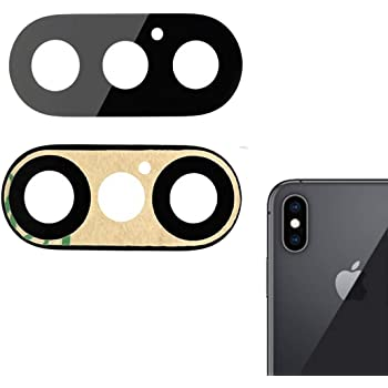 Camera Lens Rear with Bracket for Apple iPhone X Black with Glue Card