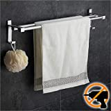 [page_title]-Wangel Doppel-Handtuchstange Handtuchhalter ohne Bohren 60cm Patentierter Kleber + Selbstklebender Kleber Aluminium Matte Finish