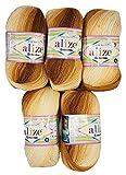 5 x 100g Babywolle Bebe Batik Mehrfarbig, 500 Gramm Wolle zum Stricken und Häkeln (braun beige Creme 3050)