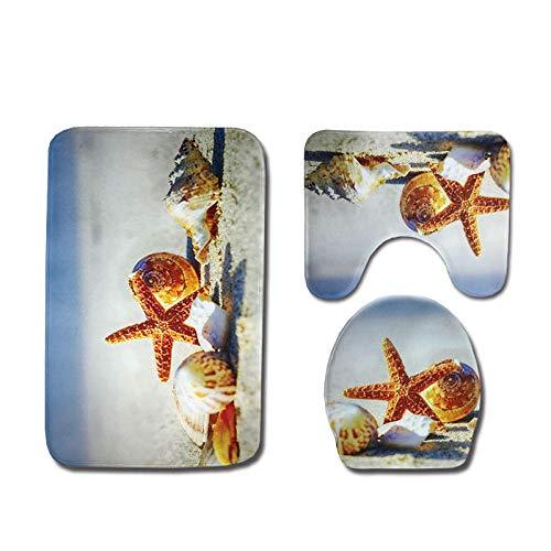 FGHJSF Alfombras de Baño Caracol Estrella de mar Juego de Alfombrillas de baño de 3 Piezas de Microfibra Alfombra de Pedestal + Tapa de Inodoro + Alfombrilla de baño