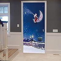 現代アート3Dドア壁画ステッカー青空サンタ 88X200cm粘着ステッカー防水リムーバブルドアデカール壁画寝室バスルームドアポスターアート装飾