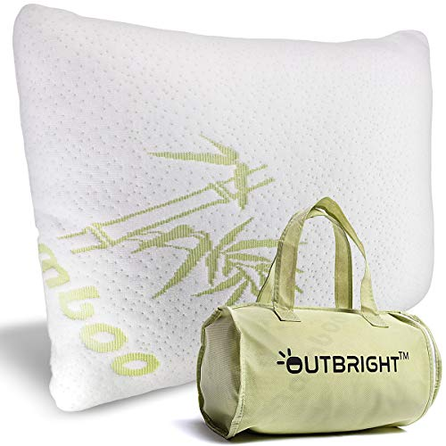 Outbright Camping Pillow with Compressible Memory-Foam - Retains Its Shape for 3+ Years, Amazingly Comfortable & Soft, Fully Adjustable & Hypoallergenic