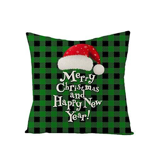 YYRY 4 Piezas/Juego de Fundas de Almohada cuadradas de Lino Suave Sombrero Retro venado Navidad Decora tu sofá, Sala de Estar y Cama (sin Inserto ni Relleno)