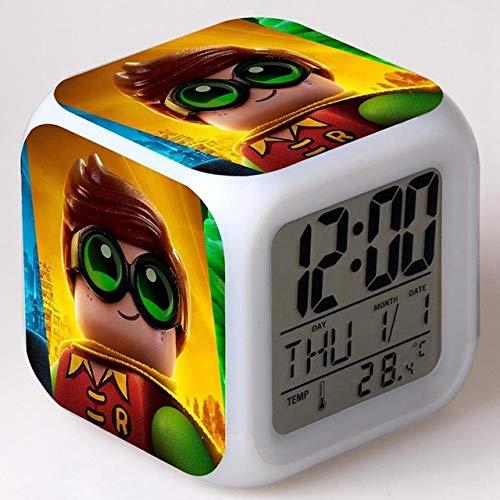 ShiyueNB Kleur bouwstenen  Digitale wekker LED nachtlampje Robin Legoes afbeelding XmasToy Gift