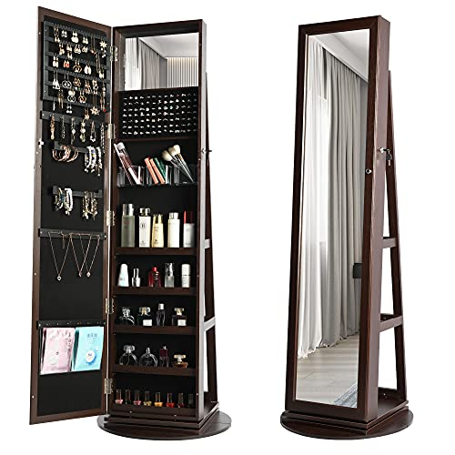 360° Swivel Jewelry Cabinet with Full-Length Mirror, Lockable Jewelry Organizer, Tall & Large Freestanding Mirror Jewelry Armoire, Rear Storage Shelves, Built-in Small Mirror (Dark Brown)