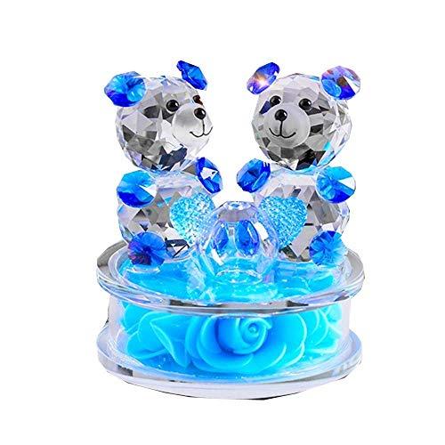 AMITD Rose Bloem Crystal Glass Dieren beer figuren Ornamenten Kerstmis Home Auto Decoration Parfum Fles Feng Shui begrip geschenk (blauw)