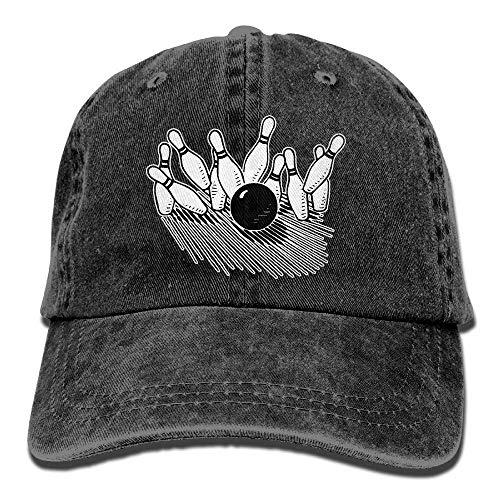 Herren Damen Baseball Caps,Hüte, Mützen, Unisex Baseball Cap Cotton Denim Hat Bowling Ball Striking Bowling Pin Adjustable Snapback Sun Hat