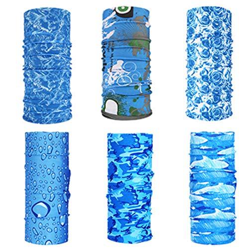 6 Pack Copricapo Multifunzione Fascia Bandana Sciarpa di Riciclaggio della Bici del Collo Maschera di Protezione Colorate per Calcio, Ciclismo, Climb, Hiking