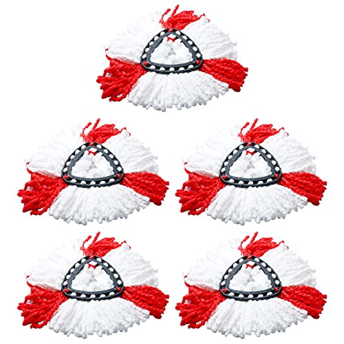 Lot de 5 Têtes de de Balai Serpillère Remplacement 2 en 1 en Microfibre, pour Balai à Franges Vileda Easy Wring Spin, pour Balai à Franges O-cedar 360 Rotatif