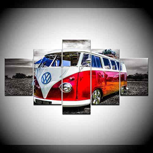 DGGDVP Gedrukte afbeeldingen Home muurkunst modulaire poster 5 panelen Volkswagen bus auto schilderij op canvas woonkamer decoratief 30x40cmx2,30x60cmx2,30x80cmx1 Geen frame.