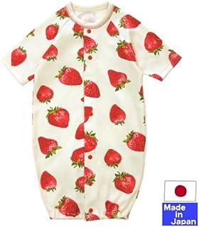 ◇日本製◇ やわらかスムース七分袖ツーウェイオール(いちご柄) 新生児 50-60cm ベビー 服 ドレス カバーオール