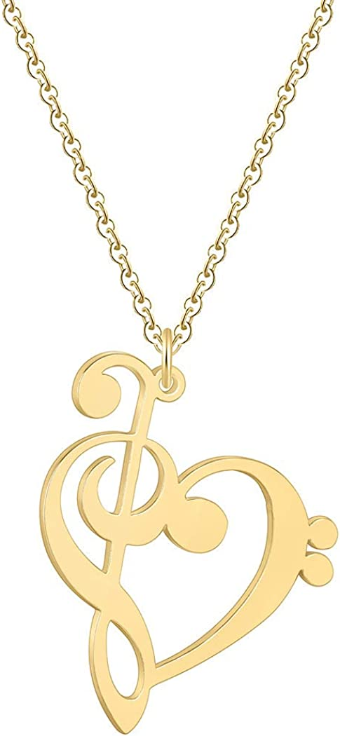 Art Music Notes Love Long Sweater Chain Necklaces for Women Girls