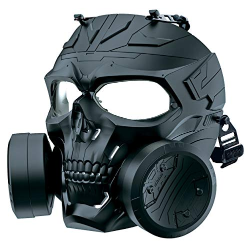 M10 Airsoft Protective Gas Mask Tactical, Full Face Protection Toxic Safety Double Exhaust Fan Dummy...