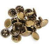 200 juegos de remaches de cuero de remache de doble tapa Espárragos de metal tubulares para reparaciones artesanales de cuero Bolsas Cinturones Sombrero Zapatos Costura Decoración 10x10mm(Bronce)