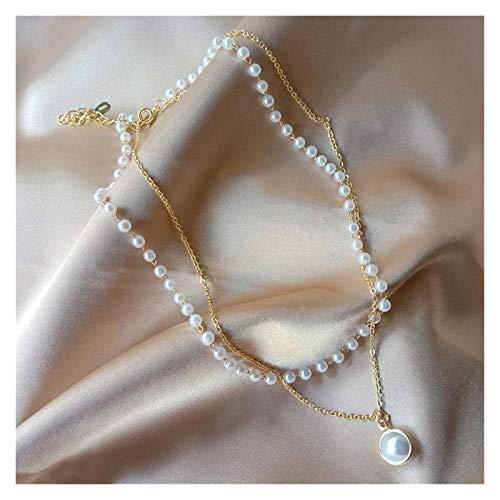 KGDC Collares Collar de Perlas de Moda Linda Colgante de Cadena de Doble Capa para Mujeres joyería niña Gargantilla Regalo Collars de Mujer (Metal Color : Gold Color)