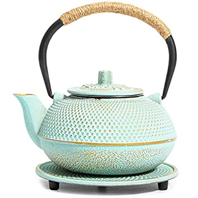 Green Cast Iron Japanese Teapot with Handle, Infuser, and Trivet (550 ml, 18.5 oz)