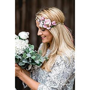 Brauthaarband Blumenkranz Blüten Diadem Braut Frisur Hochzeit Boho C7