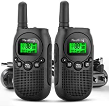 Nestling Walkie Talkies for Kids, 22 Channels 2 Way Radio Toys 3KM Long Range with Rechargeable Battery and USB/AC Wall Charger for Indoor Outdoor Activity (2 Pack, Black)
