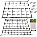 Scrog Net 2 Pack Trellis Netting, Elastic Trellis Net Fits for 4x3 4x4 5x5ft and More Size Plant Grow Tent, Double Layer Flexible Plants Netting with 16 Steel Hooks for Vegetables Fruits Flowers