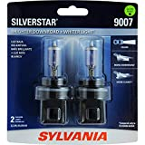SYLVANIA - 9007 SilverStar - High Performance Halogen Headlight Bulb, High Beam, Low Beam and Fog Replacement Bulb, Brighter Downroad with Whiter Light (Contains 2 Bulbs)