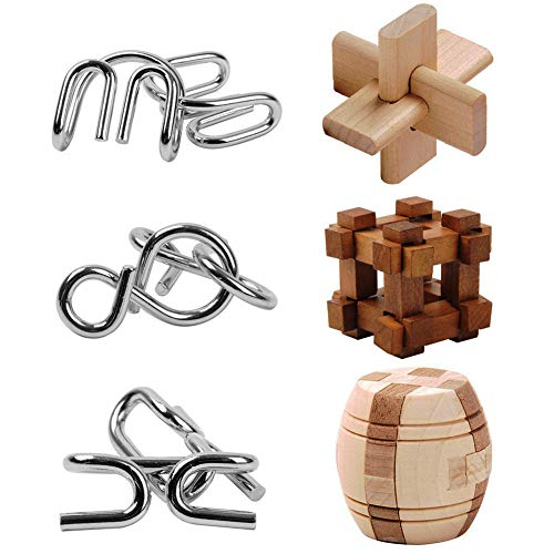 Brain Teaser Toys, 6 Puzzles IQ Test Metal and Wooden Unlock Interlock Disentanglement Puzzles Game for Kids, Boys and Girls