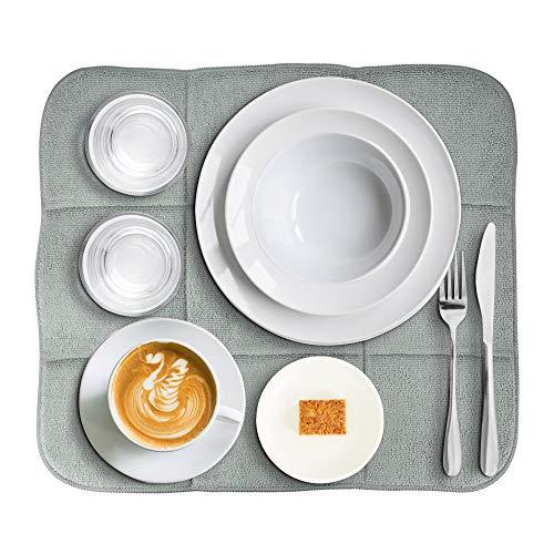 YOUKCDT Alfombrilla de lavado de microfibra absorbente para secar platos de cristal, escurridor, accesorios para fregadero, cocina, encimera, mesa, gris, 40 x 46 cm