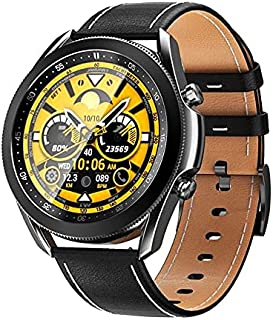 W3 Stainless Smart Watch 1.3 Inch Full Round Touch Screen With Leather & Silicone Strap Bluetooth Call Rotating Bezel Hear...