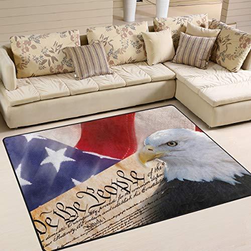 "AGONA USA American Flag Patriotic Bald Eagle Area Rug 5'3""x4' Soft Large Area Rugs Indoor Modern FloorCarpet No Shedding Non Slip Rectangle Mat for Living Room Entryway Bedroom Kids Room"