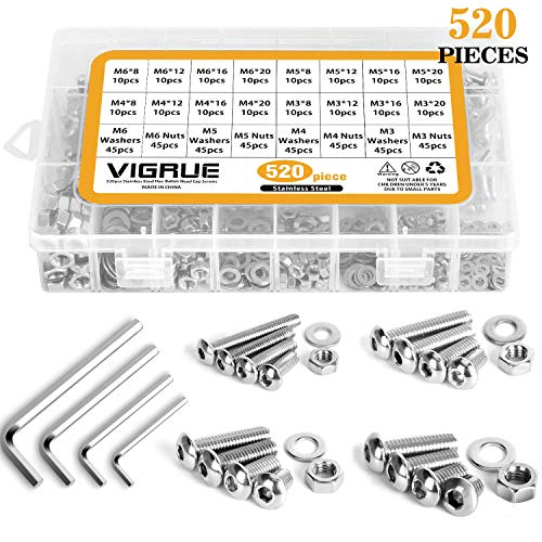 304 Stainless Steel Screws and Nuts, M3 M4 M5 M6 Hex Socket Head Cap Screws Assortment Set Kit with Storage Box (520 Pcs Hex Button Head Cap Screws Nuts)