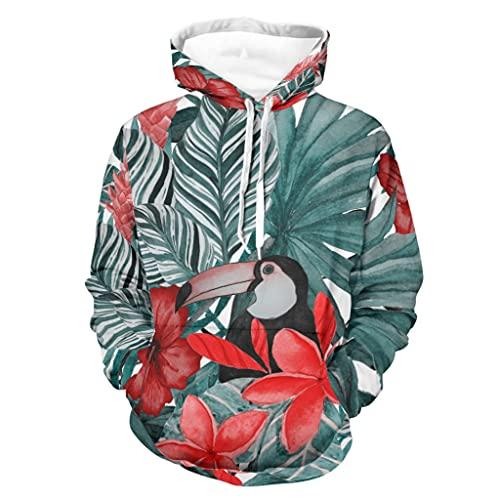 Sudadera con capucha para hombre y mujer, diseño de hojas tropicales, flores rojas, plumeria, hibisco, impresión digital, elegante, con bolsillos, color blanco, 5XL