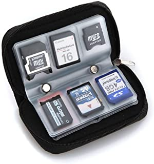 24 ranuras Profesional Resistente al agua Soporte de almacenamiento SD SDHC SDXC TF tarjeta de memoria cubierta con mosquet/ón NIAGUOJI Tarjetero SD