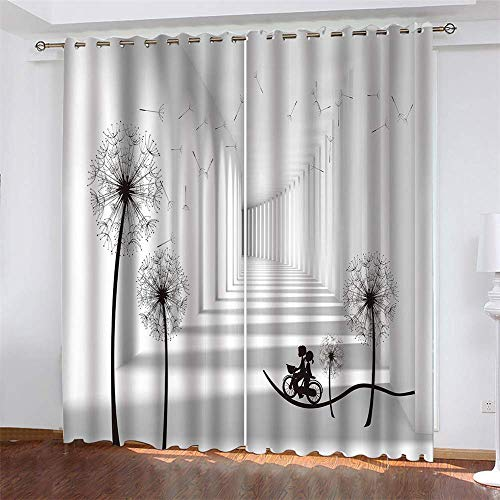 YUNSW Gray Series 3D Digital Printing Curtains, Garden Living Room Kitchen Bedroom Blackout Curtains, Perforated Curtains 2 Piece Set