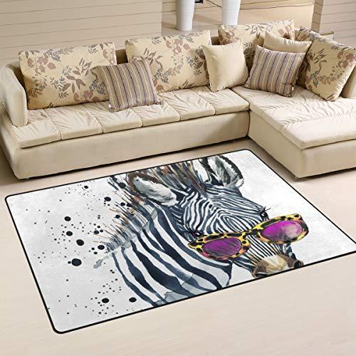WowPrint Lustiger Zebra-Teppich, waschbar, leicht, für Küche, Esszimmer, Wohnzimmer, Schlafzimmer, Heimdekoration, 160 x 122 cm, Multi, 160 x 122 cm