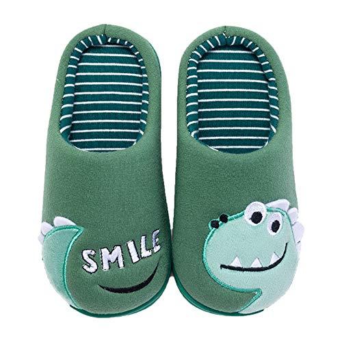Coralup - Zapatos Interiores de Dinosaurio para niños pequeños, Pantuflas de Invierno sin Cordones 33 34 EU Negro